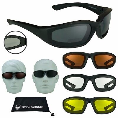 - Z87 BIFOCAL Motorcycle Safety Glasses Foam Padded Wind Dust Proof Reader Cheater