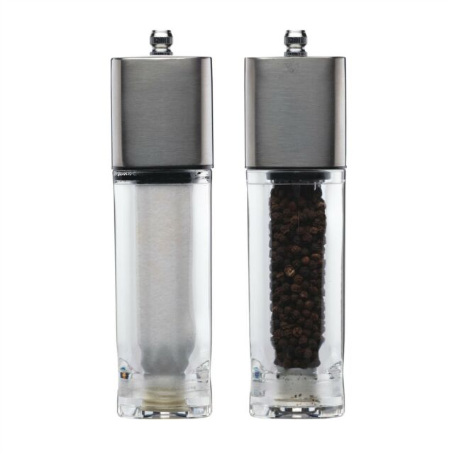 Kitchen Craft Master Class 18cm Stainless Steel Salt and Pepper Mills Set of 2