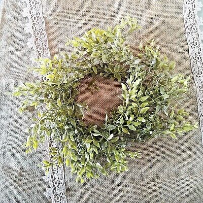 Frosted Tea Leaf Candle Ring Mini Wreath Primitive Cottage Chic New - Mini Wreaths