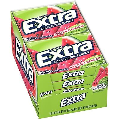 EXTRA SUGAR FREE WATERMELON CHWING GUM - 15STK TO CT. - 30CT TO PACKET.