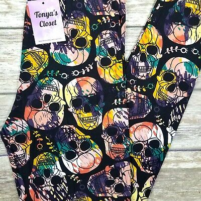 Skull Print Leggings Colorful Halloween Skeleton Buttery Soft ONE SIZE OS