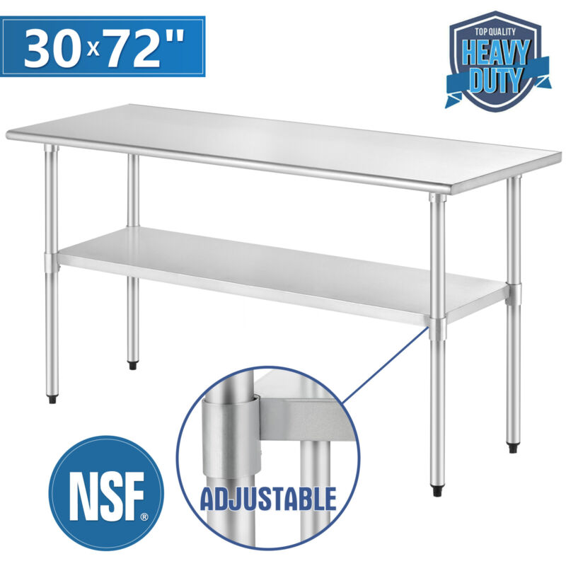 "30"" x 72"" Prep & Work Table Stainless Steel Food Commercial Kitchen Restaurant"
