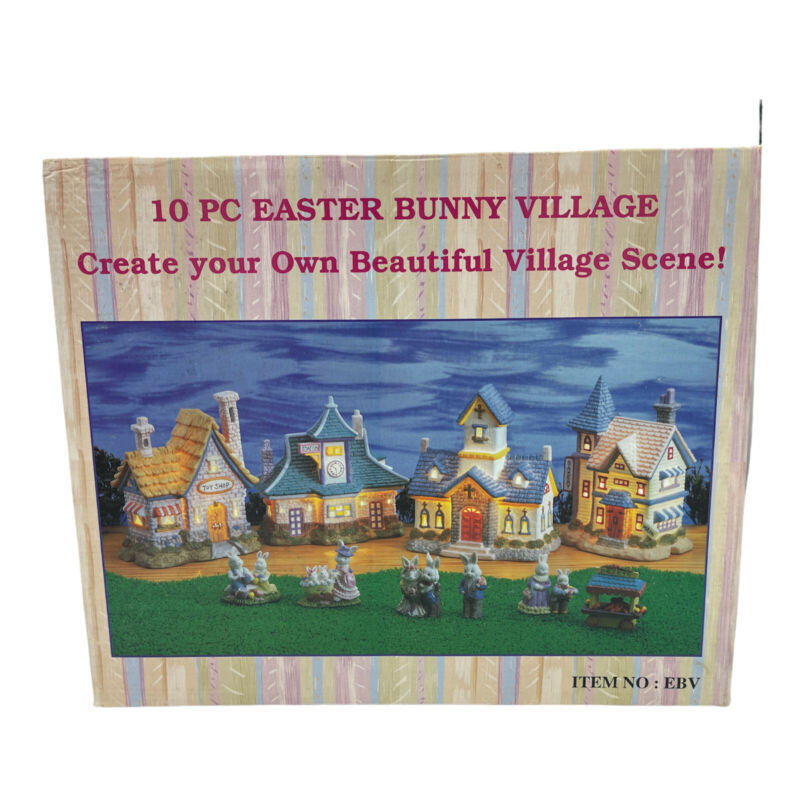 New Easter Bunny Ceramic Lighted Village 10 pieces Toy Shop Bakery Church