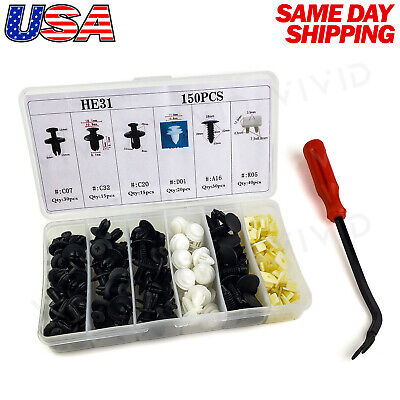150pc Set Plastic Rivets Fender Bumper Push Pin Clips w/ Removal Tool for Dodge
