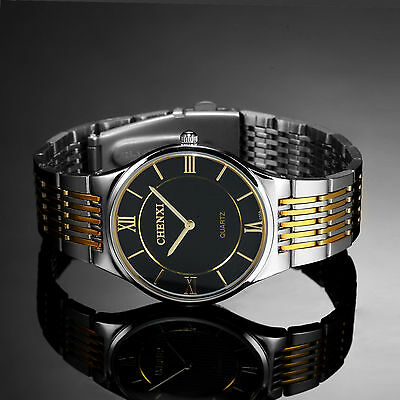 Stainless Steel Analog Fashion Black Military Dial Mens Quartz Sport Wrist Watch
