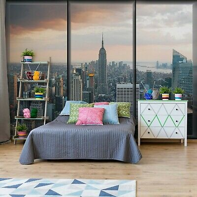 New York Skyline Window View Wallpaper Wall Mural Fleece Easy-Install Paper