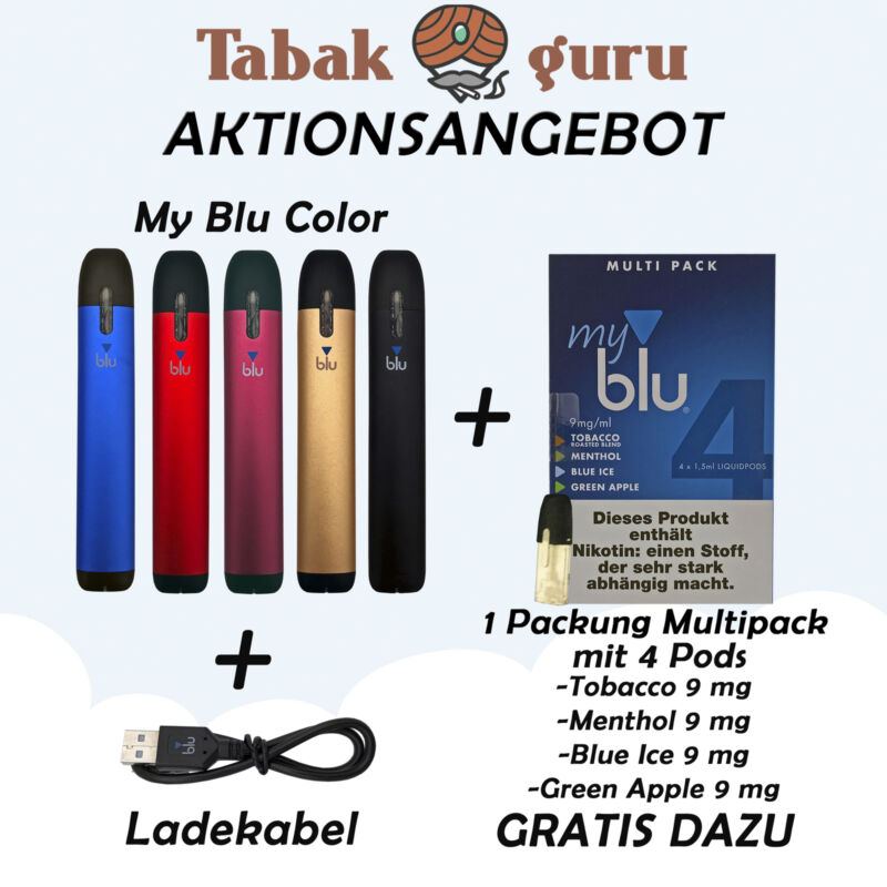 MyBlu /My Blu / MyBlue Color Kit E-Zigarette + 1 Multipack á 4 Liquidpods Gratis