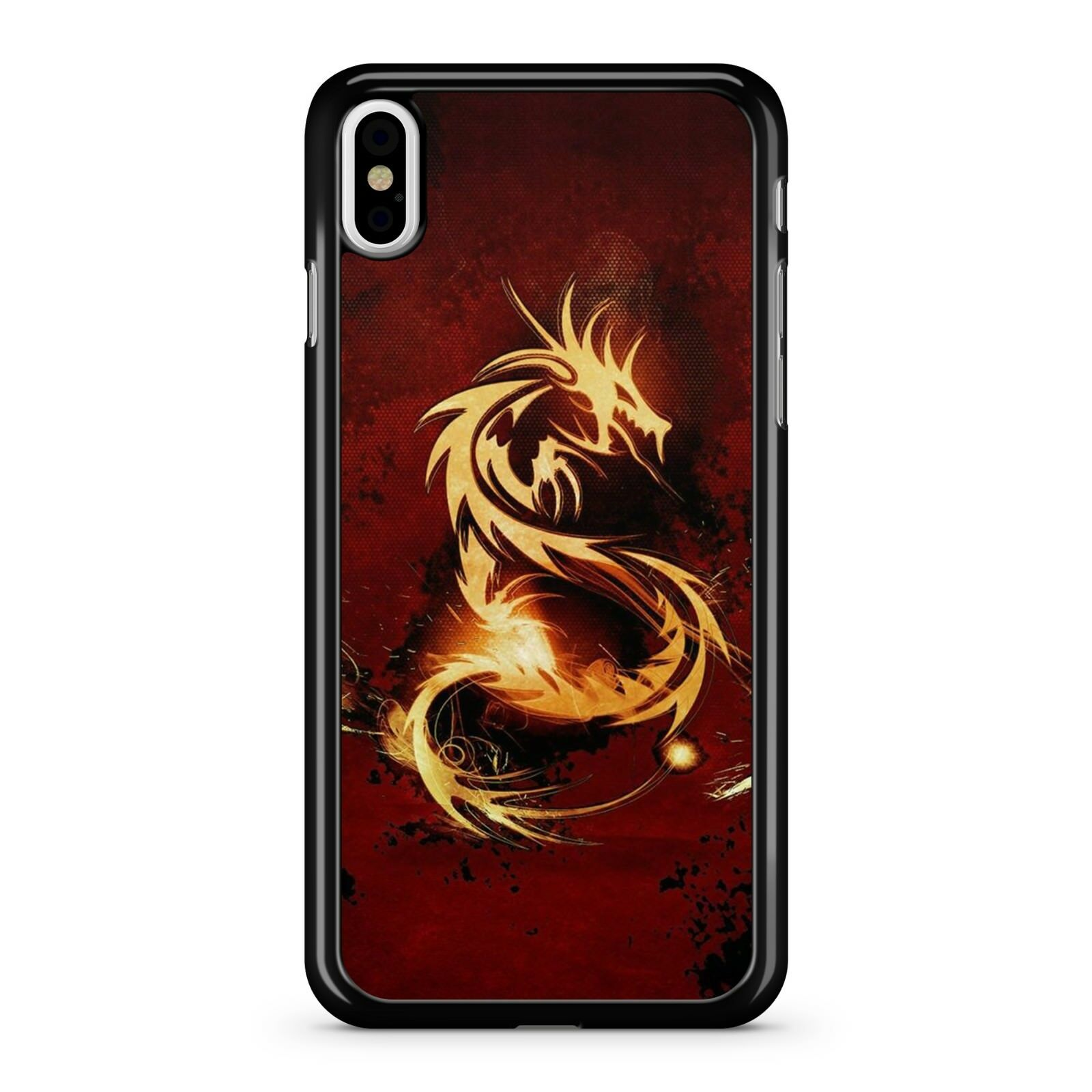 sale retailer 6ad3e 6b189 Details about Golden Mythical Supreme Dragon Drawing Red Cloudy Misty Sky  2D Phone Case Cover