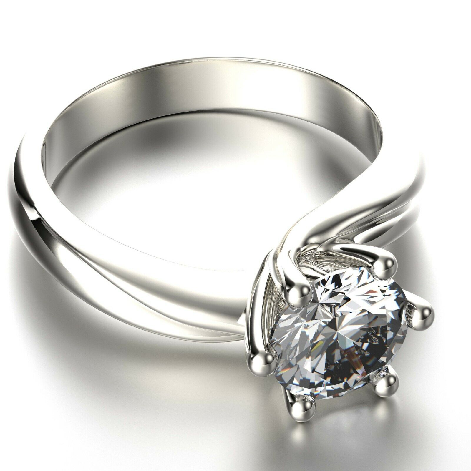 Real GIA Certified Round Cut Diamond Solitaire Engagement Ring 1.50 Carat 14k