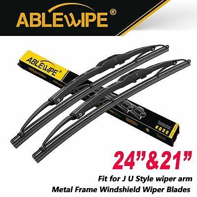 """ABLEWIPE 24""""+21"""" Fit For Dodge Charger Metal Frame Windshield Wiper Blades 2Pcs"""