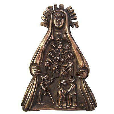 Mantel Dekorationen (Bronze Relief Maria Hilf Schutzmantel Madonna 18 cm * 12 cm )