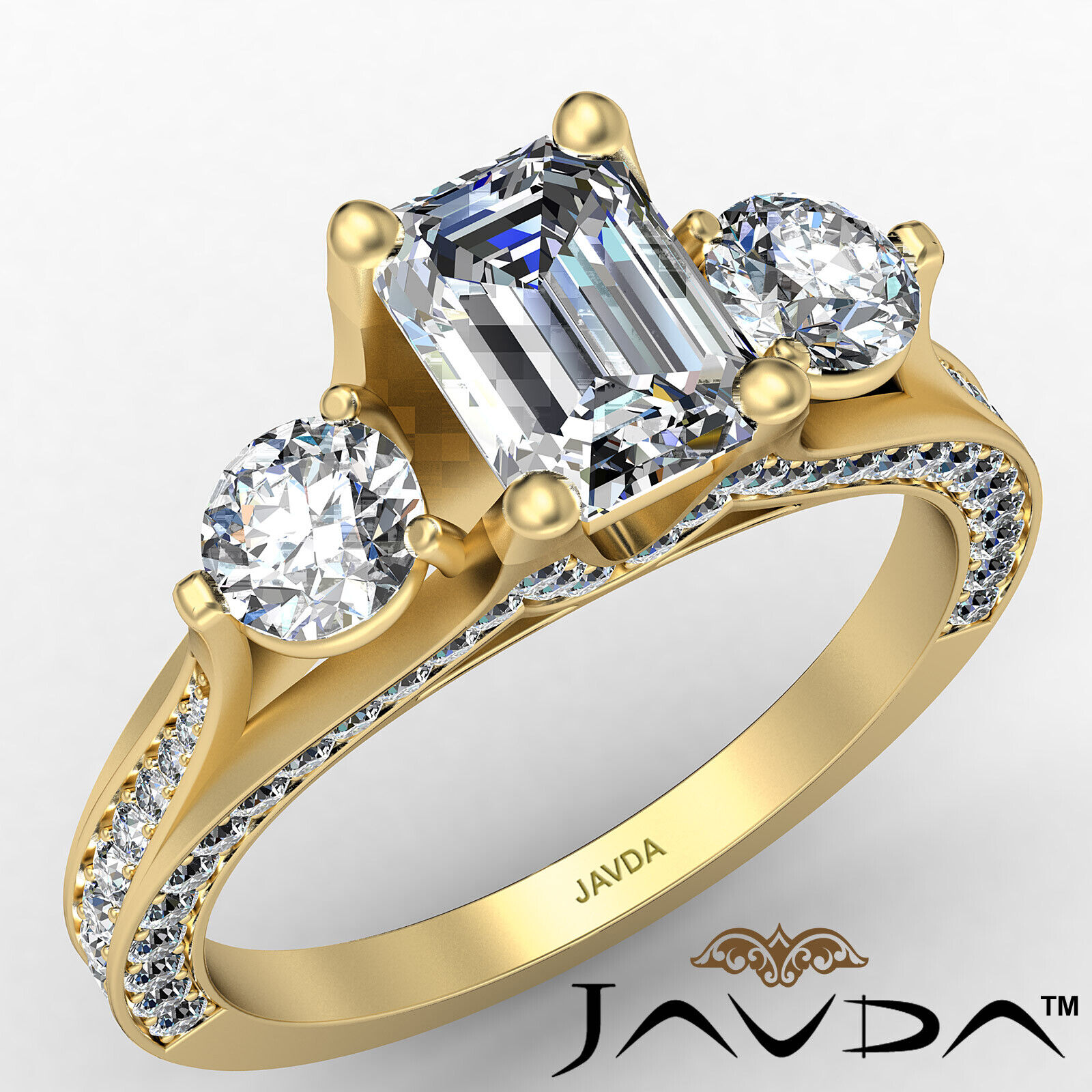 3stone Emerald Diamond Engagement Ring GIA Certified J Color & VVS1 clarity 2ctw 1