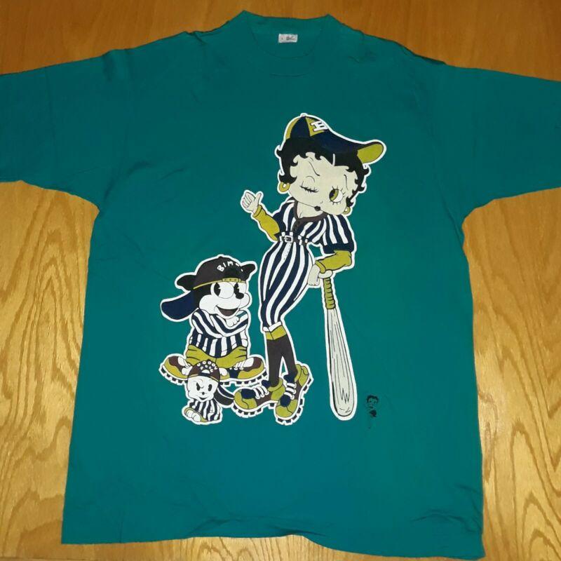 Vintage Betty Boop T Shirt Size L Baseball Betty Boop Single Stitch
