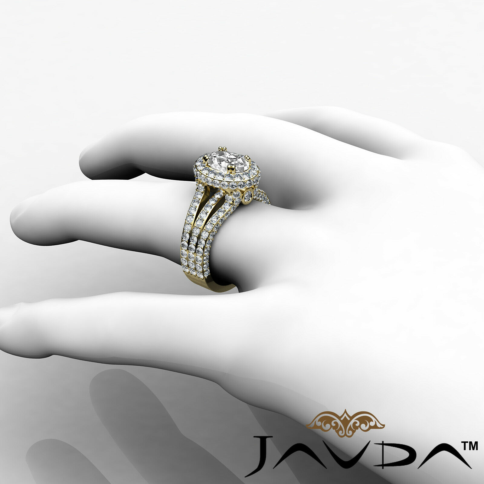 Double Prong Circa Halo Pave Bezel Oval Diamond Engagement Ring GIA F VS1 3.65Ct 11
