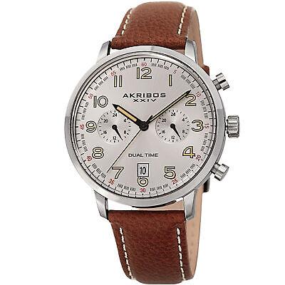 New Model Men's Akribos XXIV AK1023SSBR Chronograph Tan Leather Strap Watch