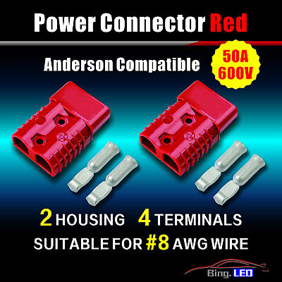 50amp 2 Pole Power Connector Plug Red Wterminals For 8 Awg Wire