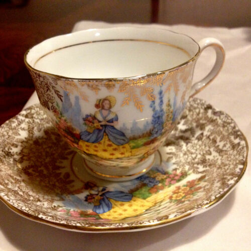 COLCLOUGH LADY IN GARDEN TEA CUP AND SAUCER