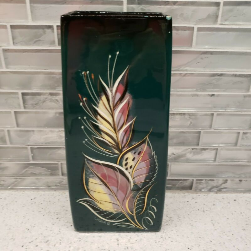 Vintage Sascha Brastoff MCM Vase Rectangle Pink Yellow Leaves Gold Wheat