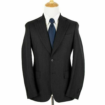 Massimo Piombo Lardini Charcoal Wool Herringbone Soft Tweed 2Btn Suit 38R Italy