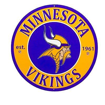 Minnesota Vikings Football  - 24 inch Diamater Aluminum Sign
