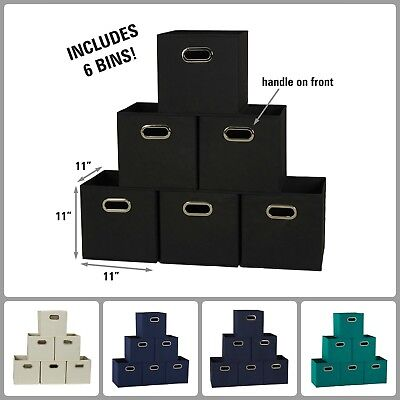 Set Of 6 Cubby Cubes With Handle Foldable Fabric Quick Pull Out Storage Bins New
