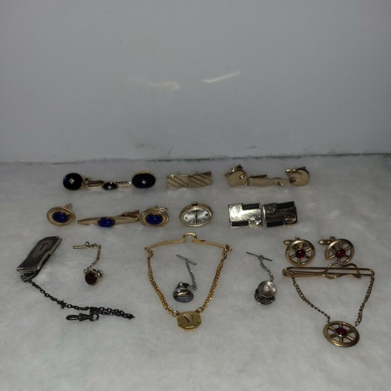 Vintage mens jewelry mixed lot cuff links tie clips and bars Swank Anson Hadley