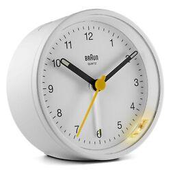 Ameico Braun Classic Analogue White Alarm Clock with Light BC12W