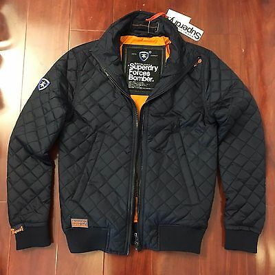 NEW SUPERDRY DUTY JACKET FORCES BOMBER DARK NAVY ORANGE MEN SIZE SMALL S