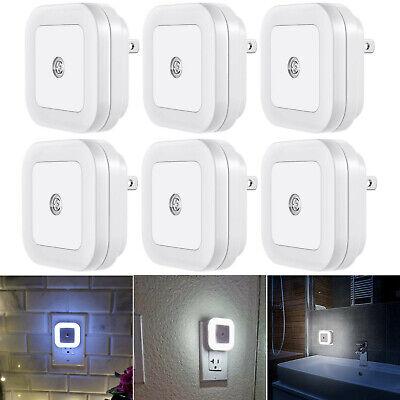 6x Plug-in LED Night Light Lamp Dusk to Dawn Sensor Hallway Bedroom Bath Stairs