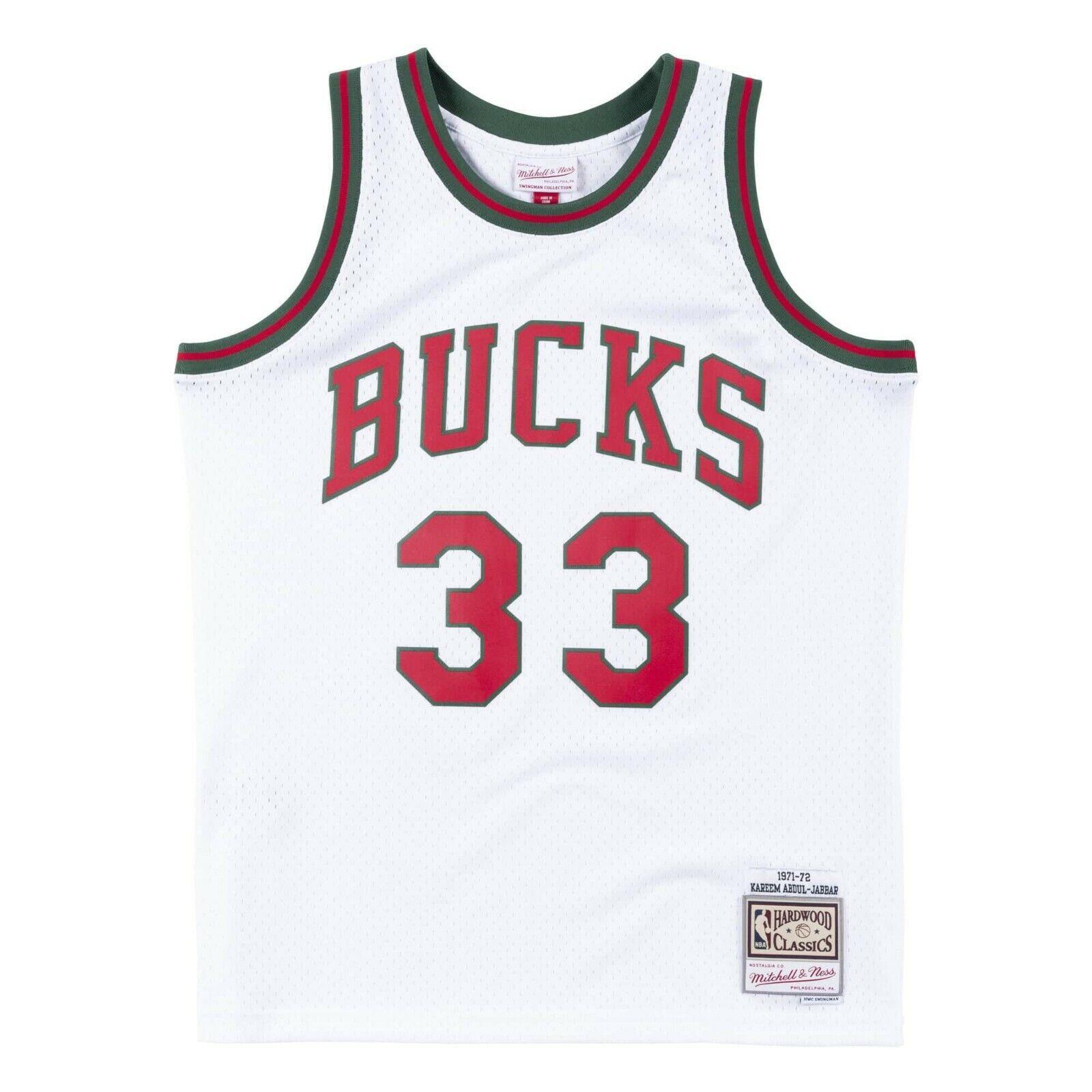 new arrivals 53fff c1e1a Details about Milwaukee Bucks #33 Abdul-Jabbar Mitchell Ness NBA Mesh White  1971-72 Jersey