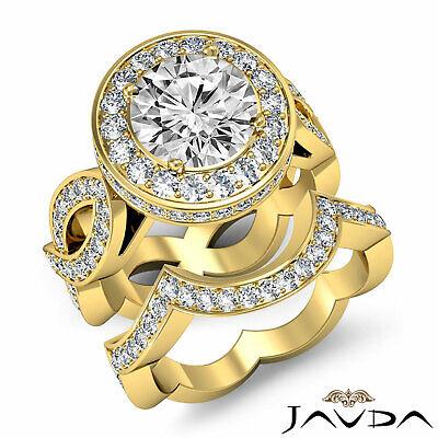 Cross Shank Circa Halo Round Diamond Engagement Pave Set Ring GIA I SI1 2.8 Ct 8