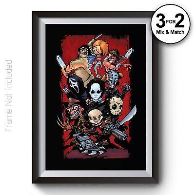 , Scary Movie Legends Jason Chucky Freddy Hellraiser Prints (Jason Scary Movie)