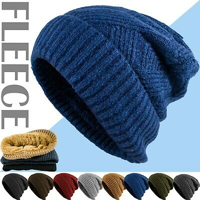 Womens Men Winter Warm Knit Fleece Baggy Slouchy Beanie Hat Ski Skull Cap Unisex