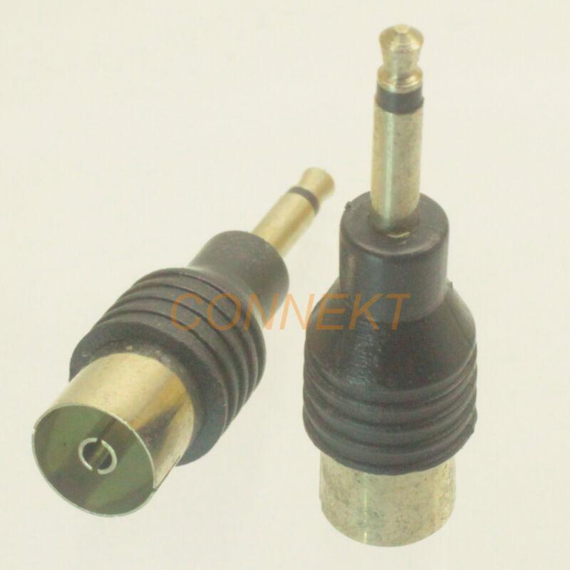 2pcs 3.5mm Mini Plug adapter to IEC COAXIAL Female Jack 9.5mm TV Aerial Antenna