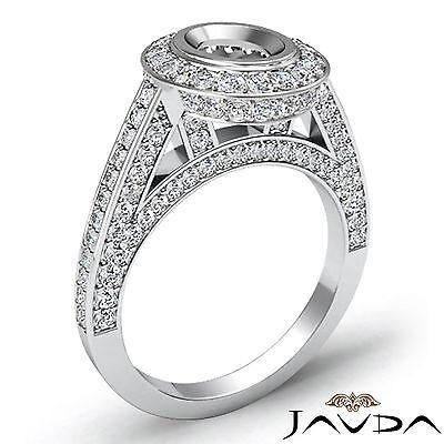 Halo Pave Bezel Set 1.25 Carat Diamond Engagement Oval Semi Mount Ring Platinum