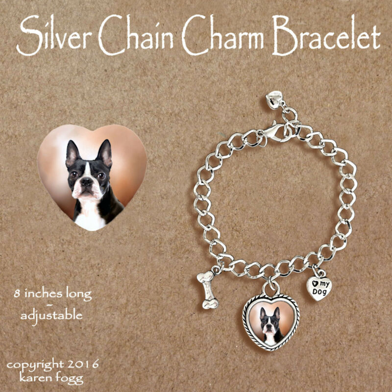 BOSTON TERRIER DOG - CHARM BRACELET SILVER CHAIN & HEART