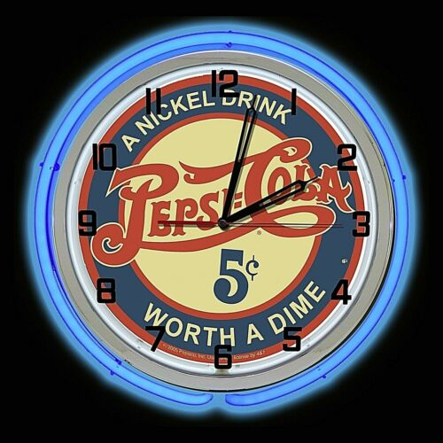 "19"" Pepsi Cola Nickel Drink Worth Worth a Dime Sign Double Blue Neon Clock"