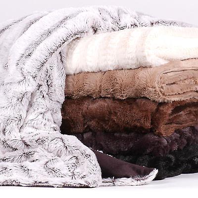 Decorative Reversible Faux Fur & Mink Throw Blanket 50 X 60 Rib Pattern Bedding