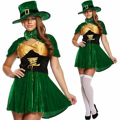 LEPRECHAUN LUCKY LADIES ST PATRICKS DAY COSTUME IRISH ADULTS FANCY DRESS OUTFIT](Lucky Lady Costume)