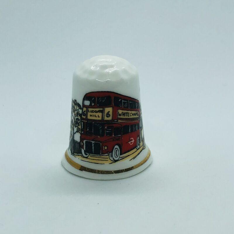 Souvenir London Fine Bone China Thimble w/ White Chapel Double Decker Bus