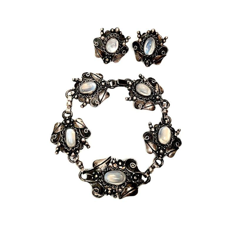 Vintage Sterling Silver and Moonstone Link Bracelet and Earrings Set #7735