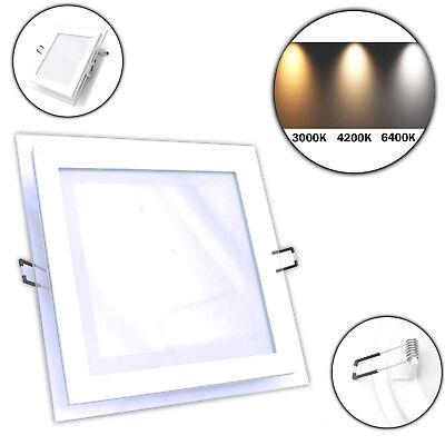16 Watt Einbauleuchten (15 Watt LED Panel Einbauleuchte Einbaupanel eckig 1150 Lumen Ø 16,5cm Glas Panel)