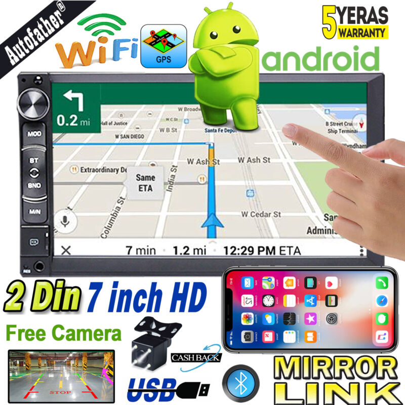 """Camera + 7"""" Android 8.1 Double 2Din Car Stereo Radio GPS Wifi Mirror Link Player"""