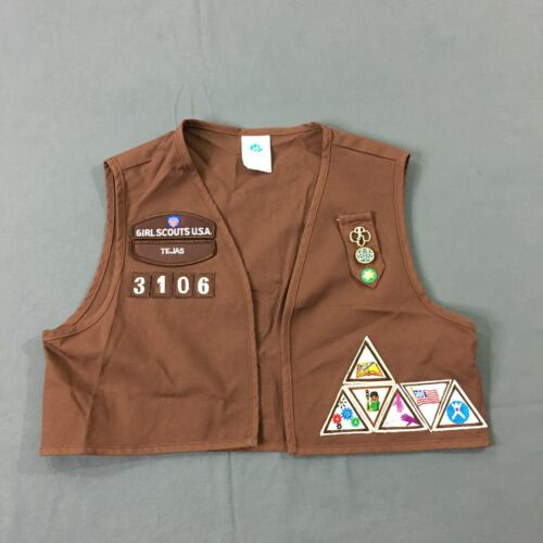 Girl Scouts USA Brown Vest Tejas Texas With Patches Size Medium