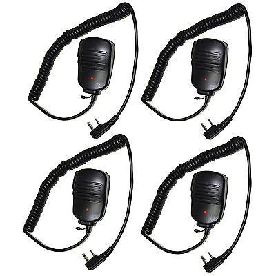 4-Pack HQRP 2 Pin PTT Mini Speaker Microphone for Kenwood NX TH TK Series Radio