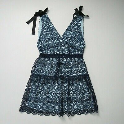 NWT Self Portrait Guipure Floral Lace Mini in Navy Tiered Circle Dress 6