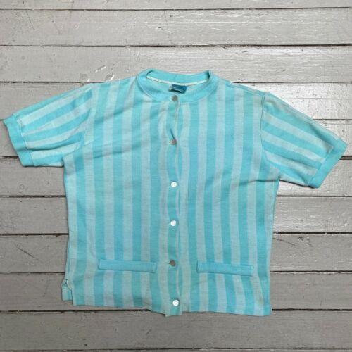 VTG 50s 60s CATALINA Light Blue Striped Short Sleeve Shirt Jacket SM MED