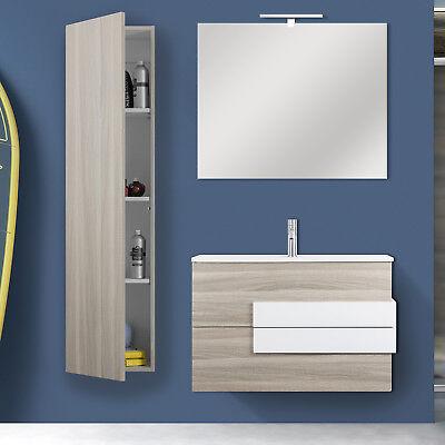 Mobile bagno sospeso 80 cm compatto arredo rovere chiaro con specchio e colonna