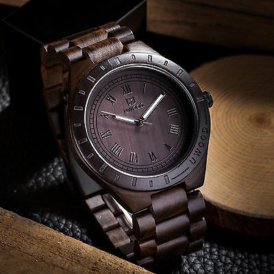 Uwood Black Sandal Mens Wood Watch Classy relogio masculino Wooden Watch Gift comprar usado  Enviando para Brazil