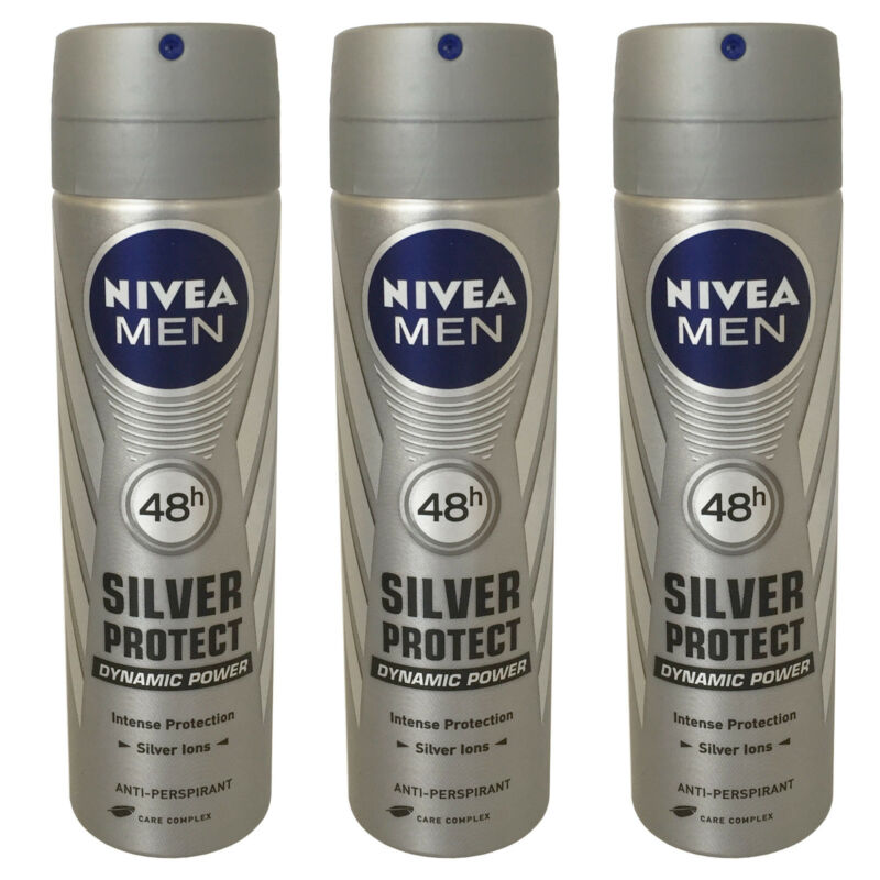 3 x Nivea Silver Protect Dynamic Powe for Men 150ml=5.07oz / Each